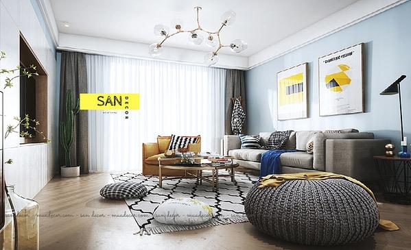 Thiết kế thi công 2PN tông màu xanh pastel SAN Decor