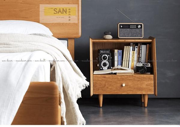 Kệ đầu giường gỗ tự nhiên một ngăn kéo SAN Decor