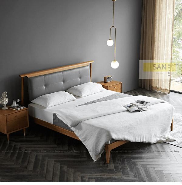 Giường ngủ gỗ tự nhiên bọc Da SAN Decor