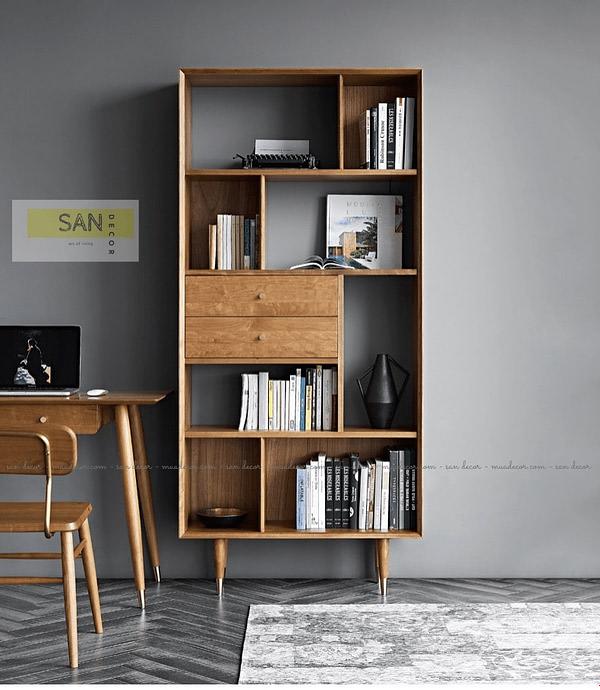 Tủ sách gỗ tự nhiên nhiều ngăn SAN Decor