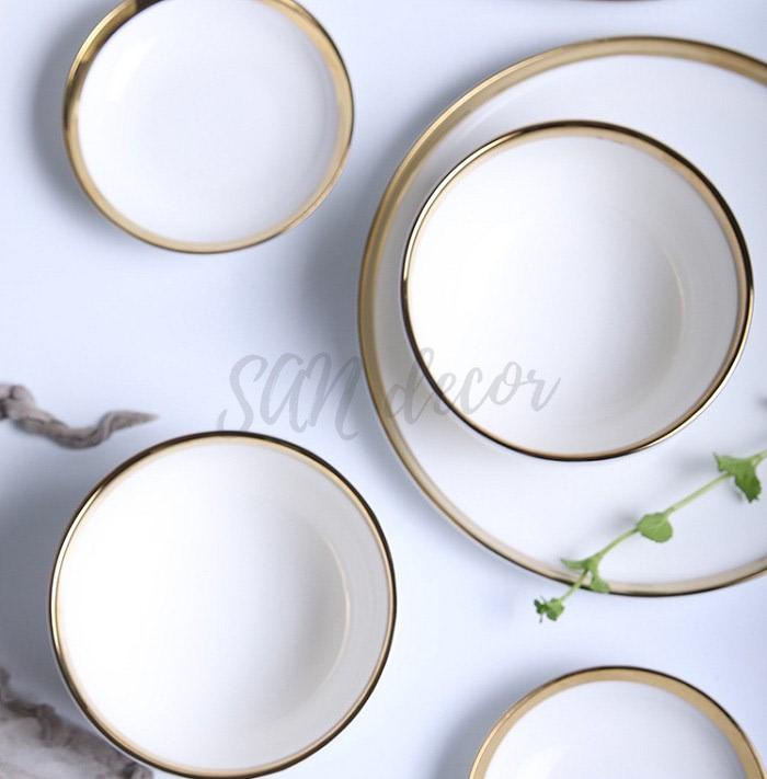 Bát sứ trắng viền vàng phong cách Scandinavian SAN Decor