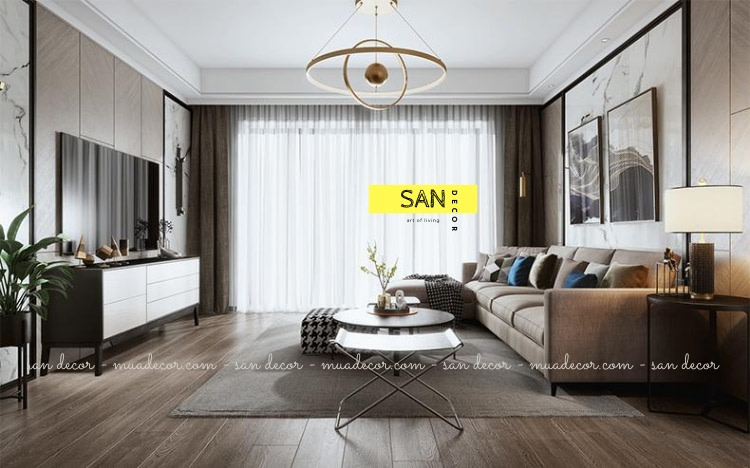 Thiết kế thi công 2PN màu vân gỗ SAN Decor