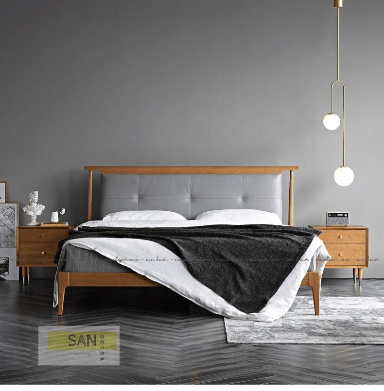 Giường gỗ anh đào bọc da